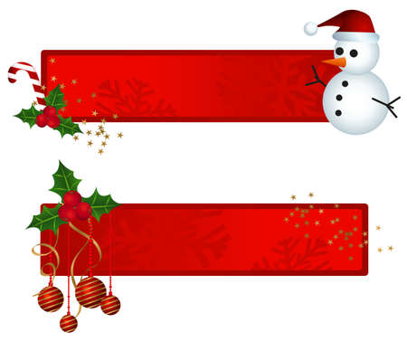 Banners with christmas ornaments and snowman illustration Vector