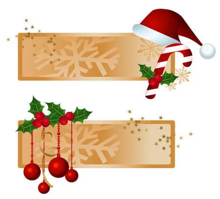 Banners with christmas ornaments, Santas hat and candy illustration  Vector