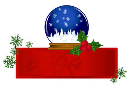 Banner with a snow globe and snow flake illustrations Vector