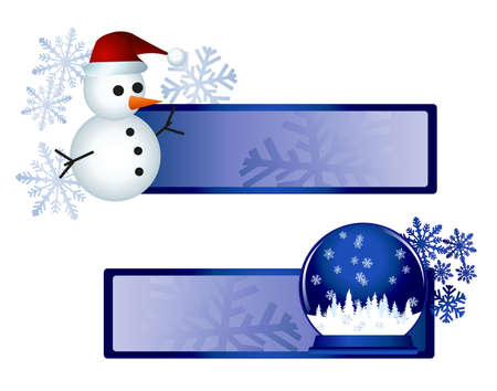 Banners with snowman and snow globe illustrations  Vector