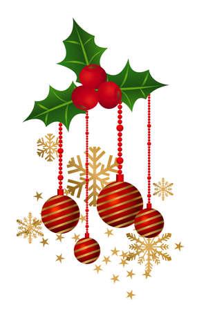 muerdago: Ilustración de decoraciones de Navidad aisladas sobre fondo blanco Vectores