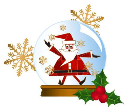 christmas snow globe: Illustration of a Santa snow globe with snowflakes isolated on white background  Illustration