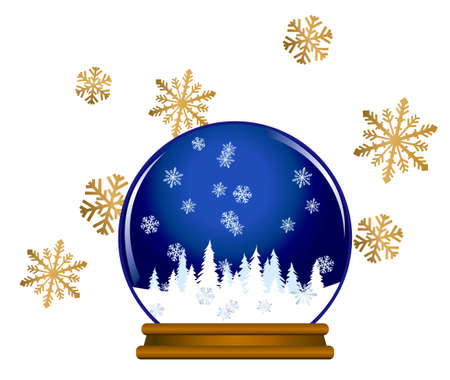 Illustration of a snow globe with snowflakes isolated on white background Vector