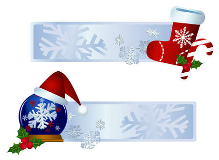 Illustrations of banners with christmas decorations  Vector