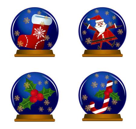 christmas sock: Illustration of snow globes isolated on white background