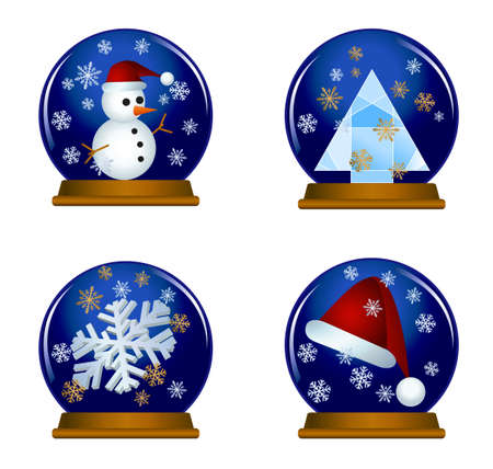 Illustration of snow globes isolated on white background  Vector