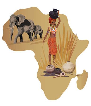 femmes africaines: Illustration avec l'Afrique et la carte des symboles africains