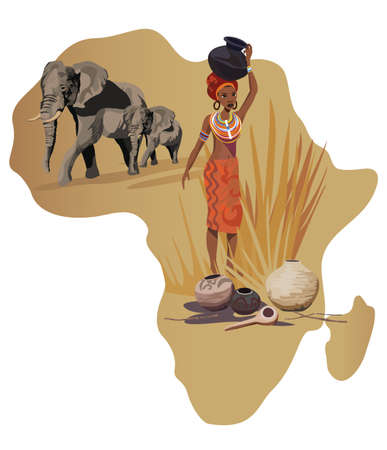 ilustraciones africanas: Ilustración con África mapa y los símbolos en África