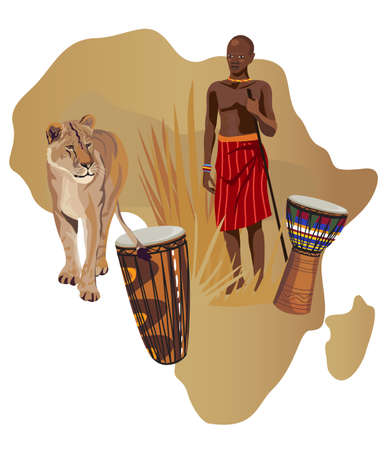 continente africano: Ilustración con África mapa y los símbolos en África