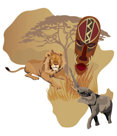 map of africa: Illustration with Africa map and African symbols
