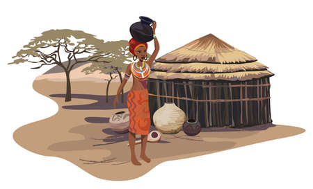 village: Illustration with an African woman carrying a pot