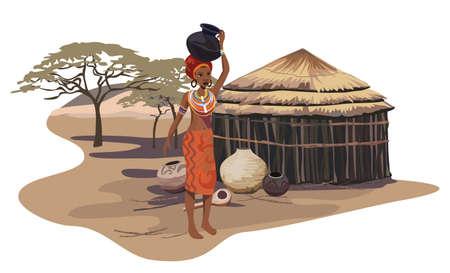 Illustrazione con una donna africana che porta un vaso Vettoriali