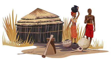 hut: African man and woman in an African village