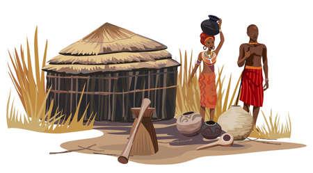 tribu: Hombre africano y una mujer en una aldea africana Vectores