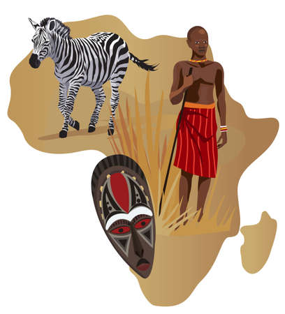 Illustration with Africa map and African symbols  Vector