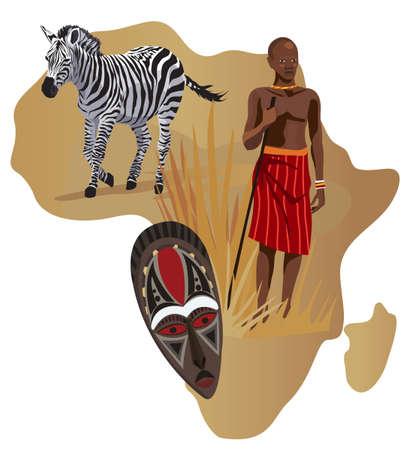 ilustraciones africanas: Ilustraci�n con �frica mapa y los s�mbolos en �frica