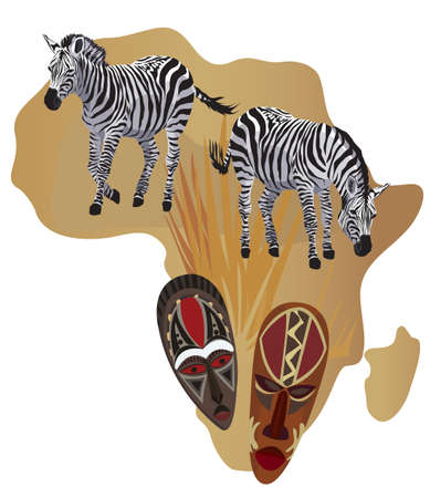 animal masks: Illustration with Africa map and African symbols