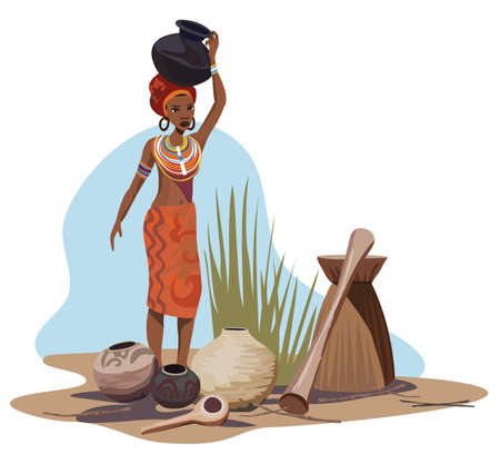 pottery: Illustration with an African woman carrying a pot