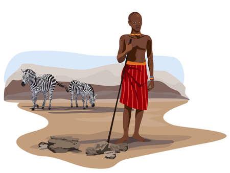continente africano: Ilustración de las cebras y un hombre africano de sabana