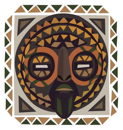 tribal mask: Decorative African mask illustration isolated on white