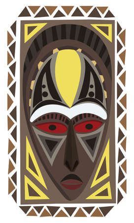 african mask: Decorative African mask illustration isolated on white
