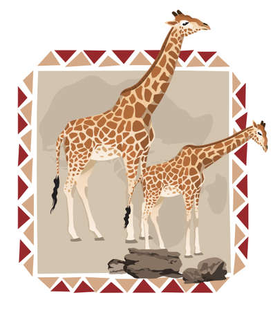 african tribe: African frame illustration with giraffes on savannah