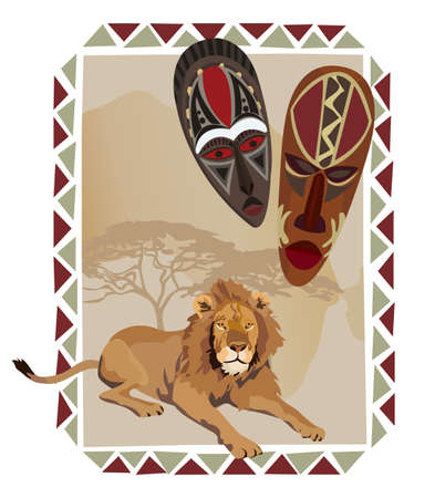 continente africano: Marco con un león africano y máscaras africanas Vectores