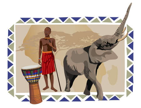 Illustration with a native African man, drum and elephant Illustration
