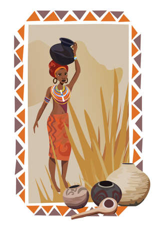 tribe: Illustration with an African woman carrying a pot