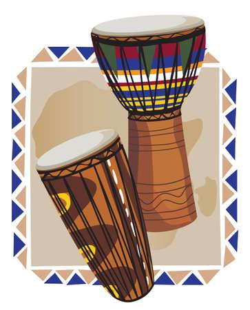arte africano: Marco decorativo con los tradicionales tambores africanos Vectores