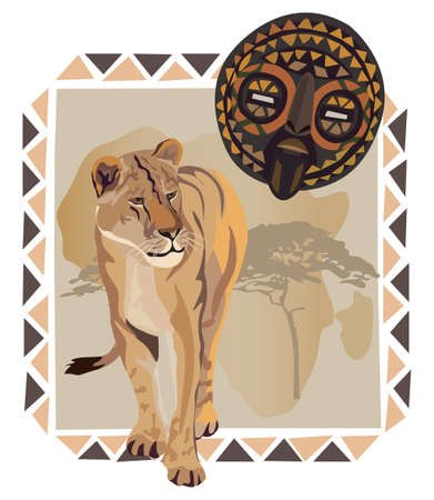 African frame with lion and mask illustrations Vector