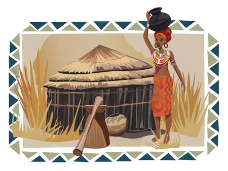 african village: Illustration with an African woman carrying a pot