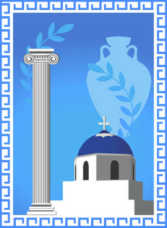 santorini: Illustration with an antique Greek column, church, amphora and olive branch