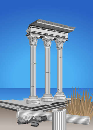 roman column: Illustration of antique temple ruins and mediterranean sea