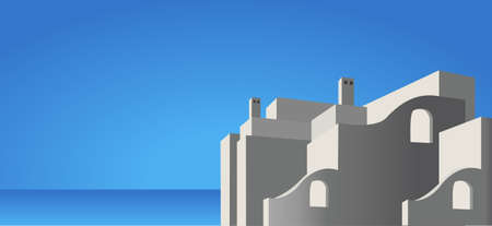 Illustration of mediterranean architecture and sea Vector