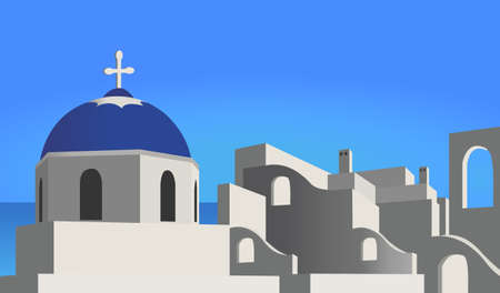 Ilustración de una iglesia y el pueblo mediterráneo