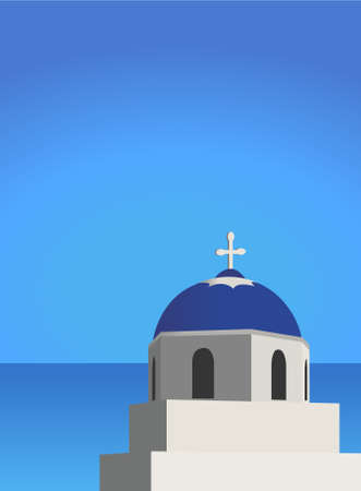 aegean sea: Illustration of a church and mediterranean sea