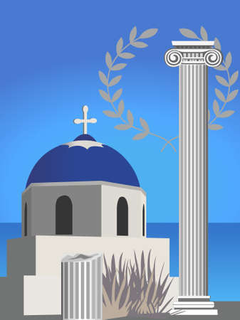 santorini greece: Illustration with an antique Greek column, church and olive branch