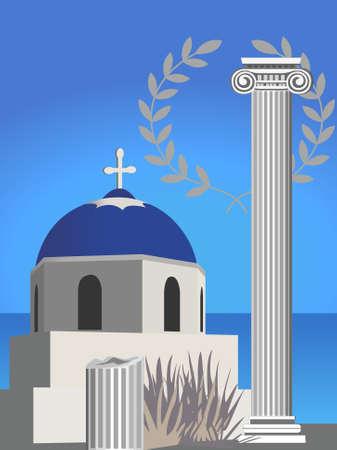 antica grecia: Illustrazione con un antico ramo greco colonna, chiesa e olive Vettoriali