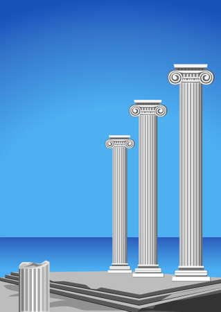 Ilustración de las ruinas del templo antiguo y el mar mediterráneo