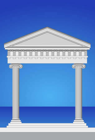 columns: Illustration of an antique temple facade and mediterranean sea Illustration