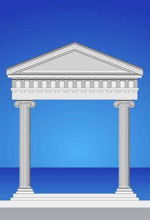 columna corintia: Ilustraci�n de una fachada de templo antiguo y el mar mediterr�neo