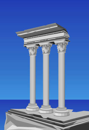 greek column: Illustration of antique temple ruins and mediterranean sea