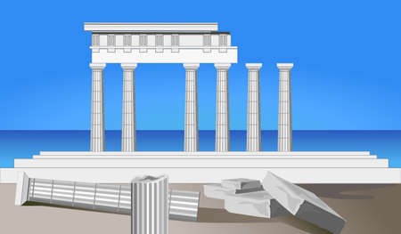 Illustration of antique temple ruins and mediterranean sea