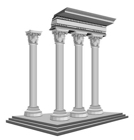 archaeological: Antique temple ruins, isolated on white background