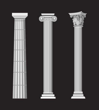 columnas romanas: Antiguas ilustraciones de columnas griegas sobre fondo negro Vectores
