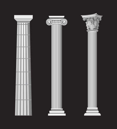 roman pillar: Antique Greek Column illustrations on black background