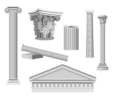 templo romano: Antiguos elementos arquitectónicos aislados en blanco