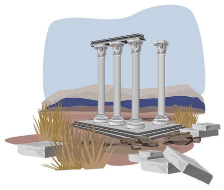 archaeological: Ruinas de antiguos templos, aisladas sobre fondo blanco