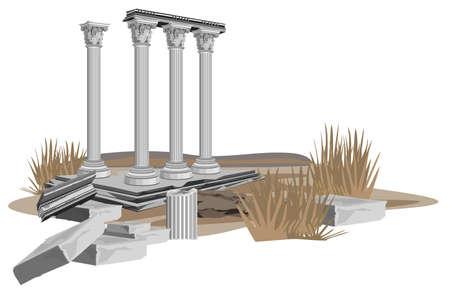 columna corintia: Ruinas de antiguos templos, aisladas sobre fondo blanco